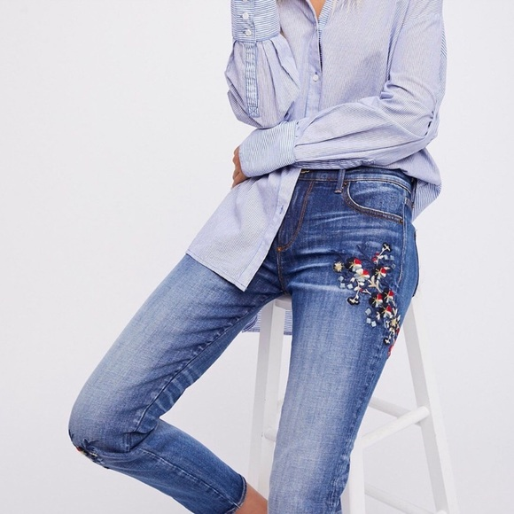 Free People Denim - NWOT FP Embroidered Jeans